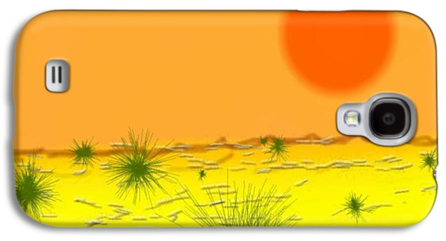Sky.sun.desert.sand.heat.rare Bushes Of The Prickle.dust.dry. Galaxy S4 Case featuring the digital art Hard Sun Of Desert by Dr Loifer Vladimir