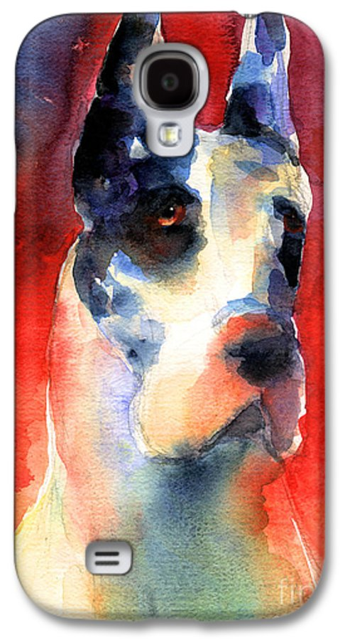 Great Dane Painting Galaxy S4 Case featuring the painting Harlequin Great Dane Watercolor Painting by Svetlana Novikova