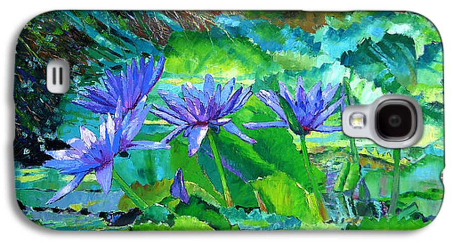 Purple Water Lilies Galaxy S4 Case featuring the painting Harmony Of Purple And Green by John Lautermilch