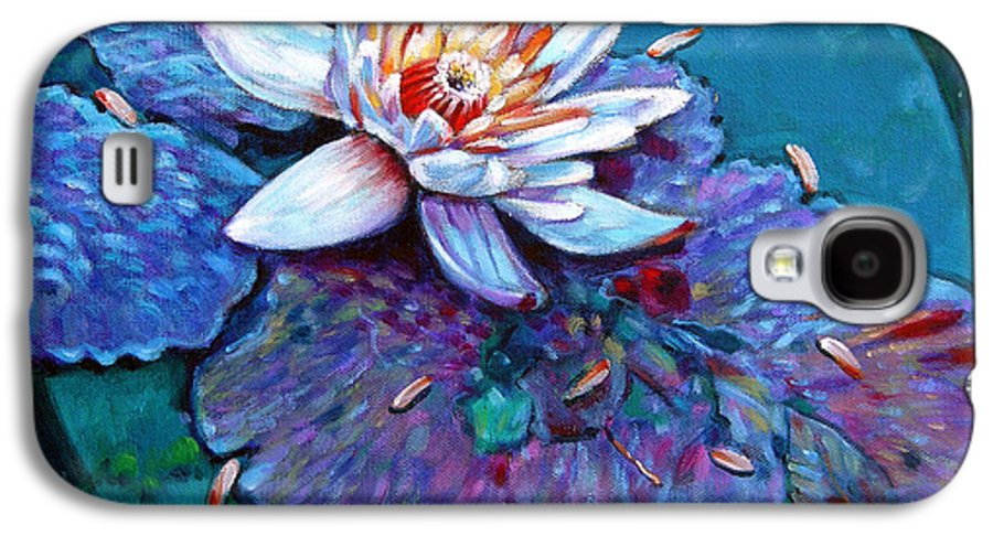 Water Lily Galaxy S4 Case featuring the painting Harvest Moon by John Lautermilch