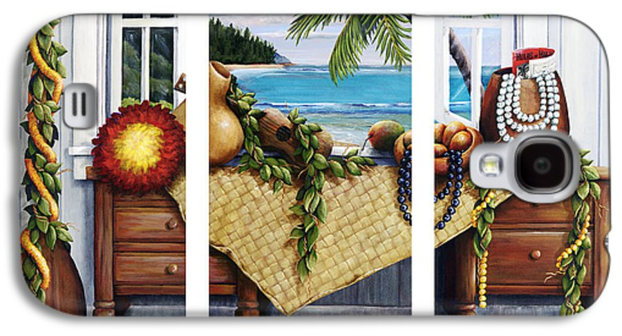 Acrylic Galaxy S4 Case featuring the painting Hawaiian Still Life With Haleiwa On My Mind by Sandra Blazel - Printscapes