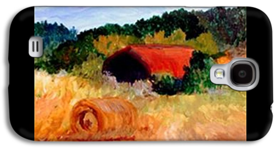 Hayrolls Galaxy S4 Case featuring the painting Hayrolls by Gail Kirtz