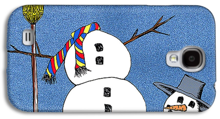 Snowman Galaxy S4 Case featuring the digital art Headless Snowman by Nancy Mueller