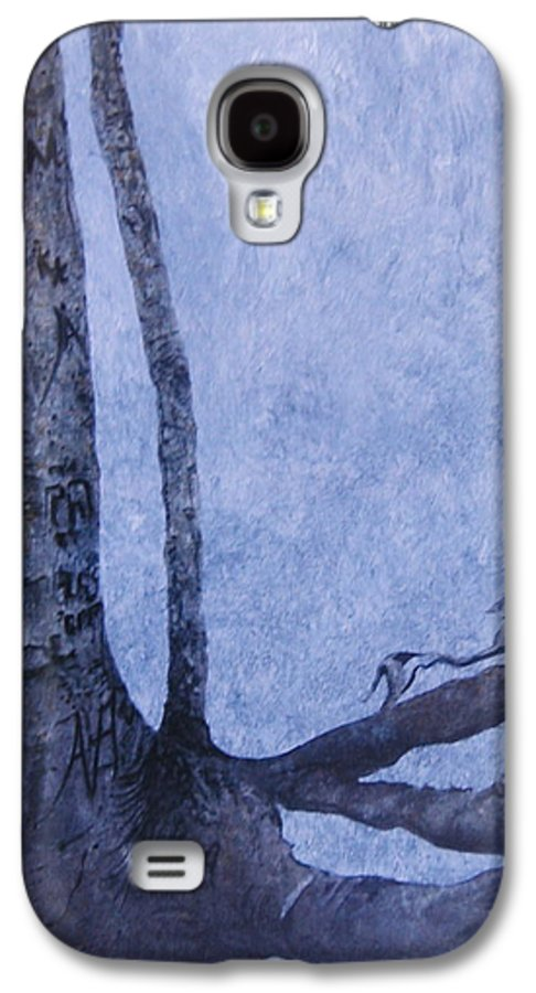Tree Trunk Galaxy S4 Case featuring the painting Hedden Park II by Leah Tomaino