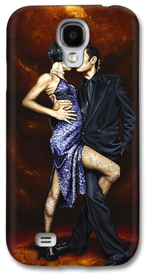 Tango Dancers Love Passion Female Male Woman Man Dance Galaxy S4 Case featuring the painting Held In Tango by Richard Young