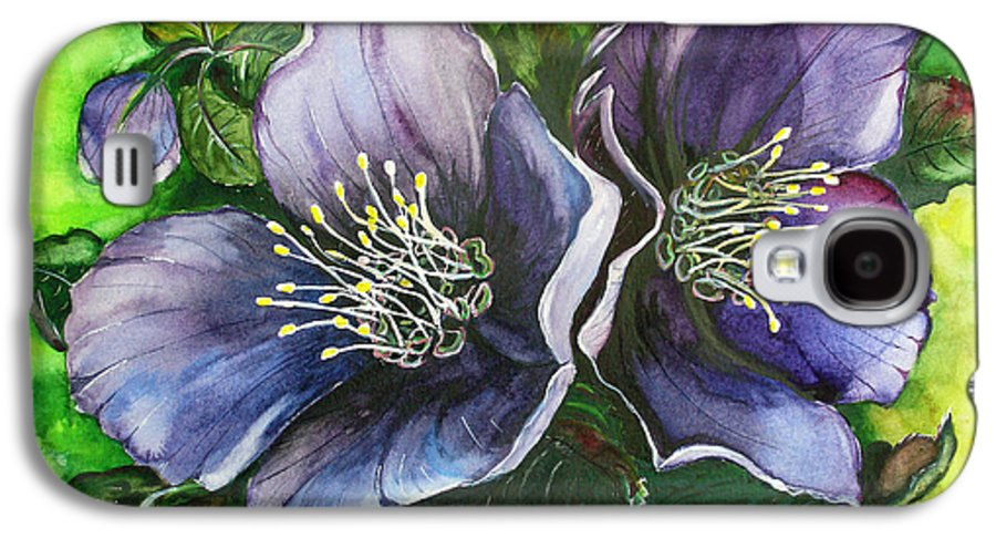 Flower Painting Botanical Painting Original W/c Painting Helleborous Painting Galaxy S4 Case featuring the painting Helleborous Blue Lady by Karin Dawn Kelshall- Best