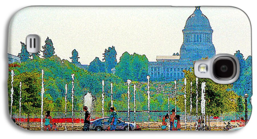 Park Galaxy S4 Case featuring the photograph Heritage Park Fountain by Larry Keahey