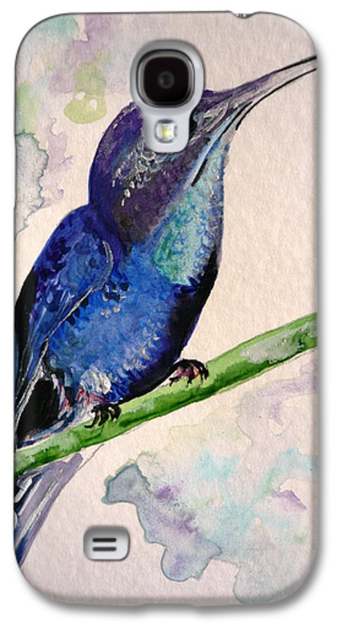 Hummingbird Painting Bird Painting Tropical Caribbean Painting Watercolor Painting Galaxy S4 Case featuring the painting hHUMMINGBIRD 2  by Karin Dawn Kelshall- Best