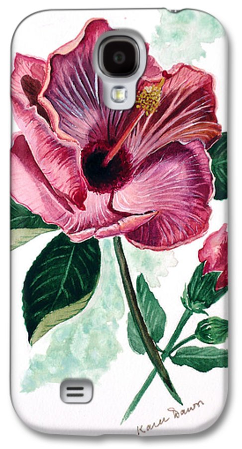 Flora Painting L Hibiscus Painting Pink Flower Painting Greeting Card Painting Galaxy S4 Case featuring the painting Hibiscus Dusky Rose by Karin Dawn Kelshall- Best