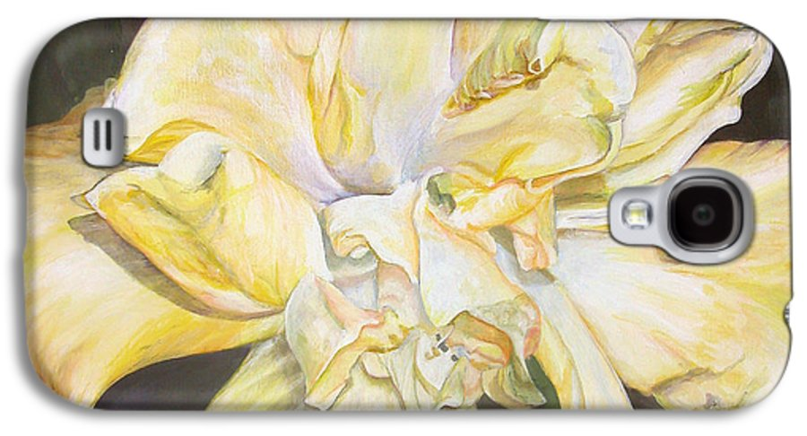 Floral Painting Galaxy S4 Case featuring the painting Hibiscus Jaune by Muriel Dolemieux