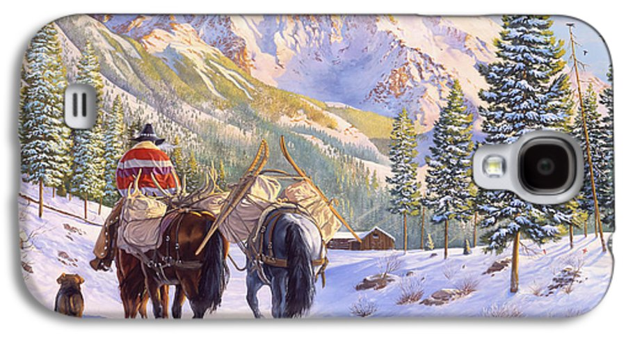 Horses Galaxy S4 Case featuring the painting High Country by Howard Dubois