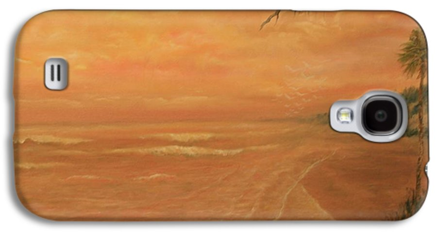 Beach; Ocean; Palm Trees; Water Galaxy S4 Case featuring the painting High Tide by Ben Kiger