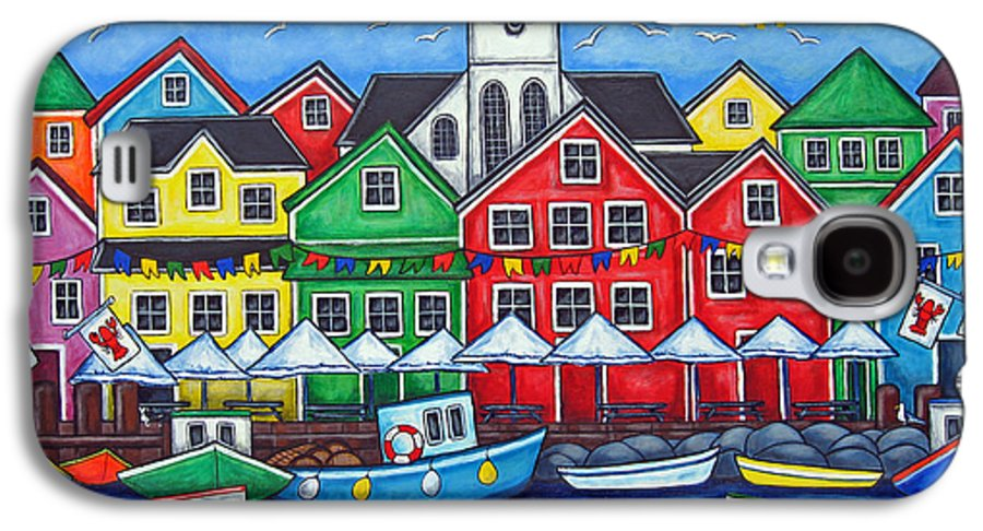 Boats Canada Colorful Docks Festival Fishing Flags Green Harbor Harbour Galaxy S4 Case featuring the painting Hometown Festival by Lisa Lorenz