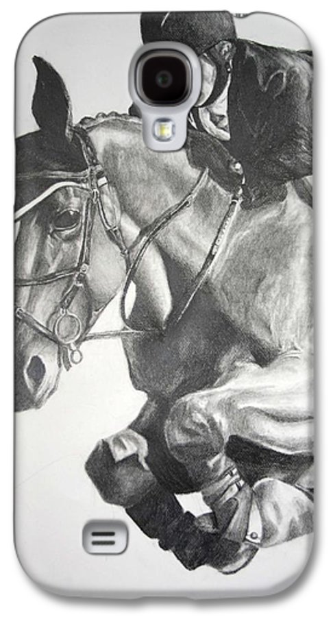 Horse Galaxy S4 Case featuring the drawing Horse And Jockey by Darcie Duranceau