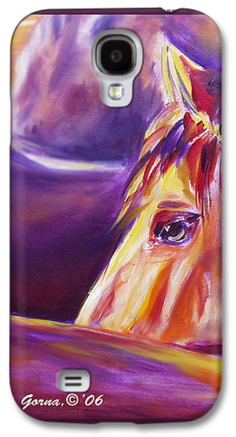 Horses Galaxy S4 Case featuring the painting Horse World Detail by Gina De Gorna
