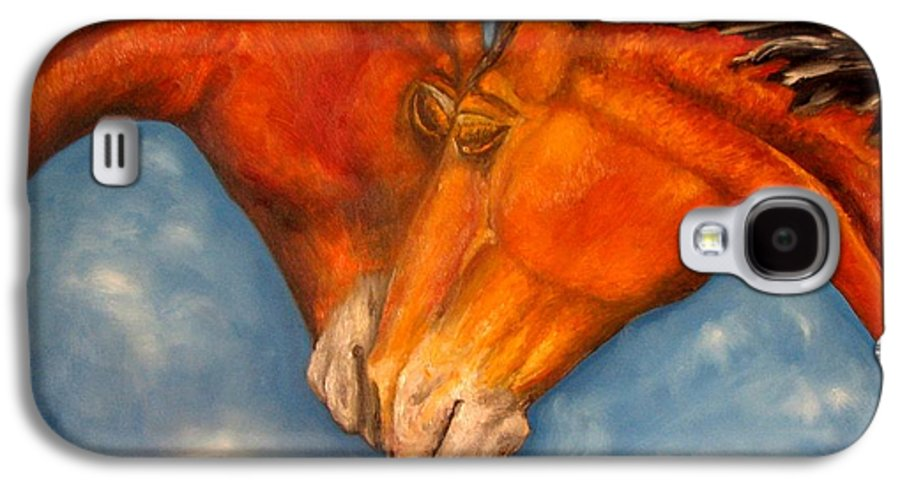 Horses Galaxy S4 Case featuring the painting Horses In Love.oil Painting by Natalja Picugina