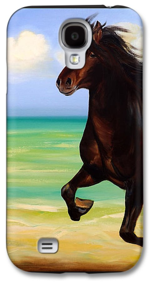 Horses Galaxy S4 Case featuring the painting Horses In Paradise Run by Gina De Gorna