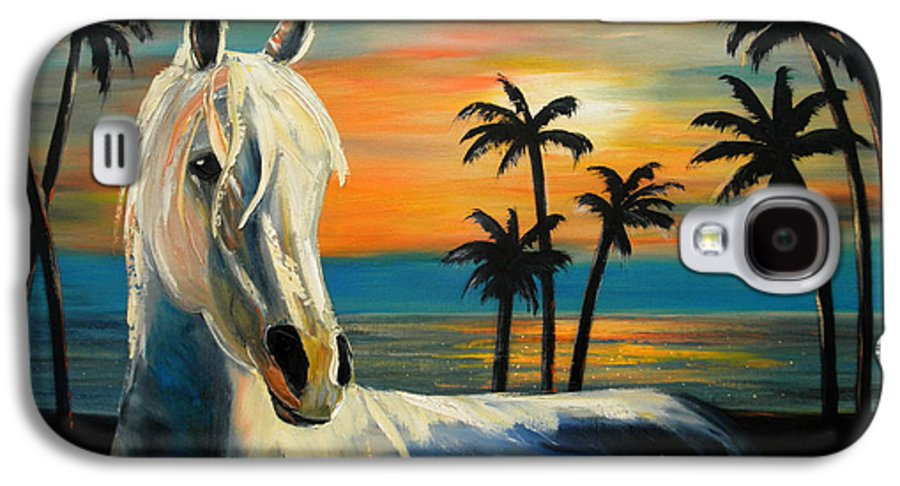 Horse Galaxy S4 Case featuring the painting Horses In Paradise Tell Me Your Dream by Gina De Gorna