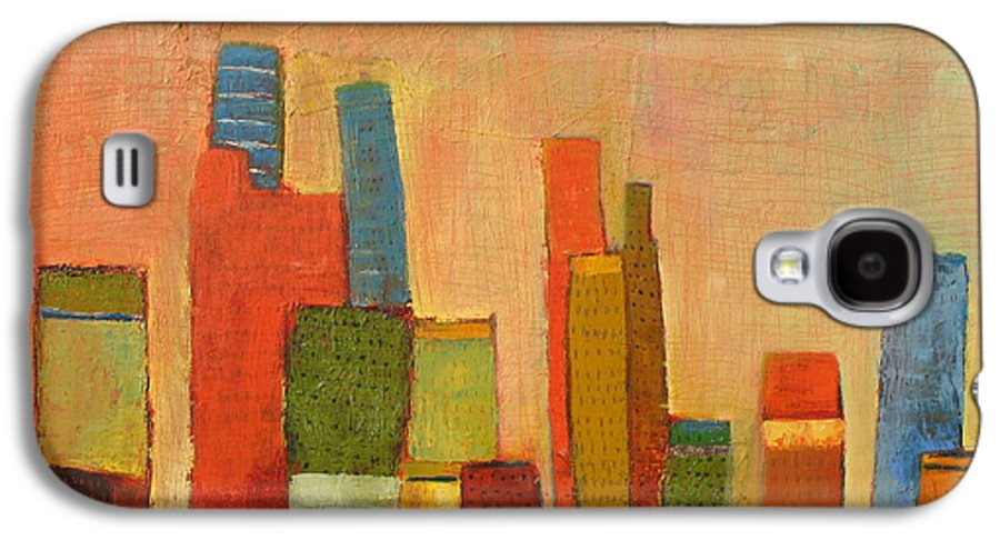Abstract Cityscape Galaxy S4 Case featuring the painting Hot Manhattan by Habib Ayat