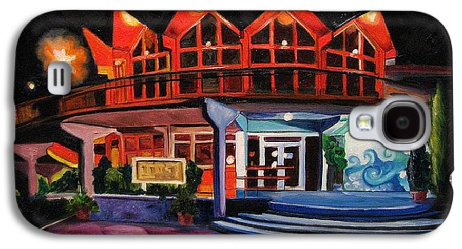 Asbury Art Galaxy S4 Case featuring the painting Howard Johnsons At Night by Patricia Arroyo