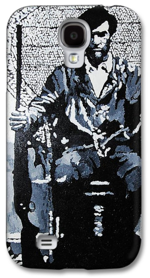 Black Panther Galaxy S4 Case featuring the painting Huey Newton Minister Of Defense Black Panther Party by Lauren Luna