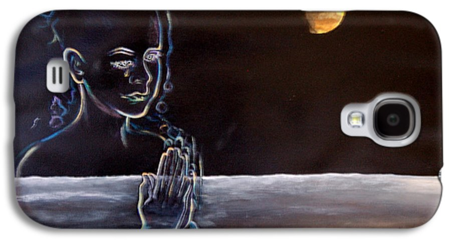 Moon Galaxy S4 Case featuring the painting Human Spirit Moonscape by Susan Moore