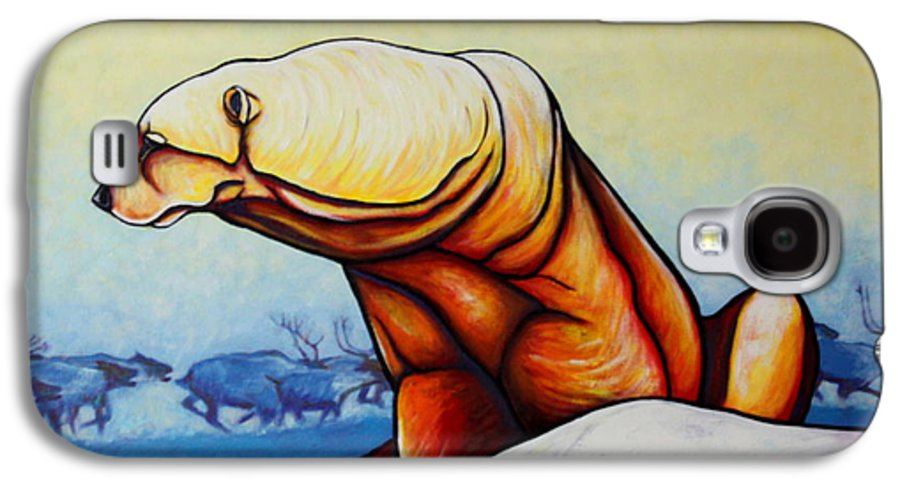 Wildlife Galaxy S4 Case featuring the painting Hunger Burns - Polar Bear And Caribou by Joe Triano