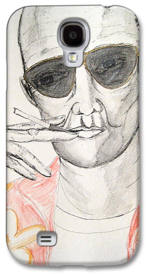 Hunter Thompson Gonzo Journalist Portrait Man Darkestartist Darkest Artist Galaxy S4 Case featuring the painting Hunter S. Thompson by Darkest Artist
