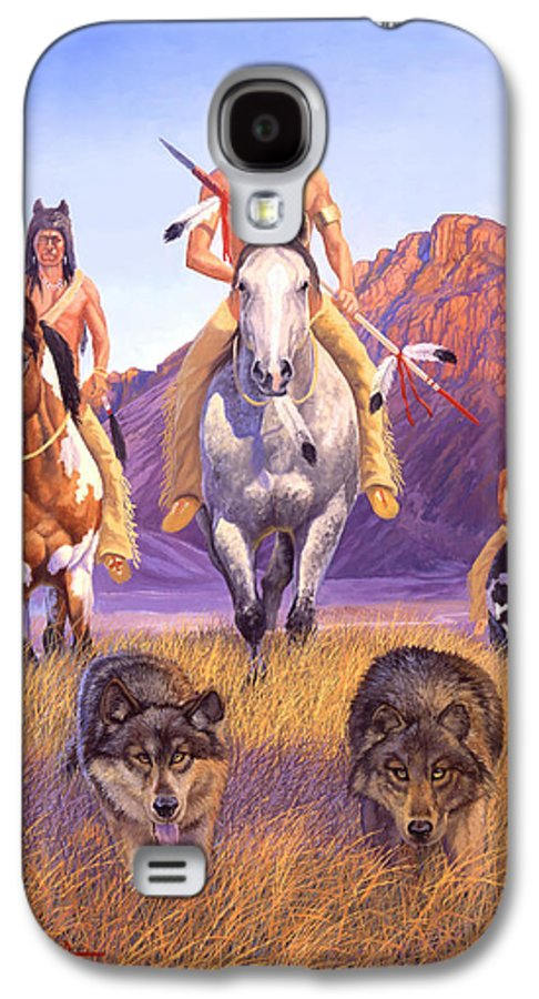 Indian Art Galaxy S4 Case featuring the painting Hunters Of The Full Moon by Howard Dubois