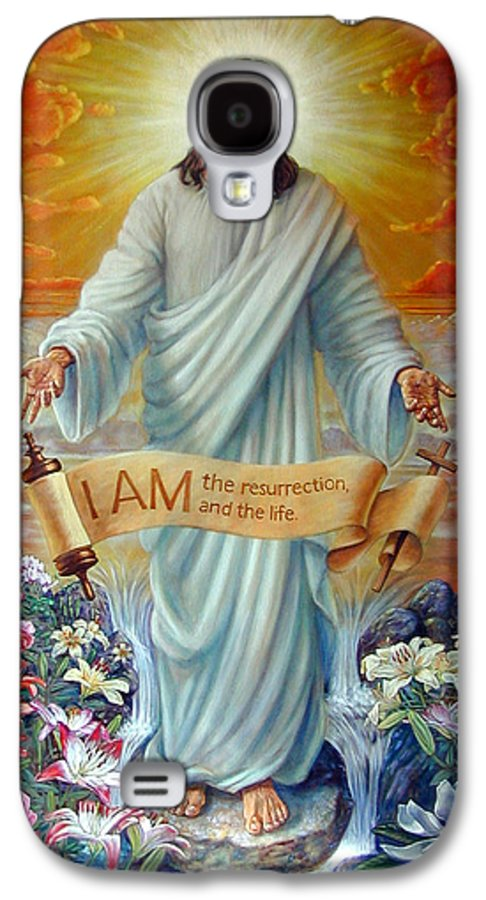 Jesus Christ Galaxy S4 Case featuring the painting I Am The Resurrection by John Lautermilch