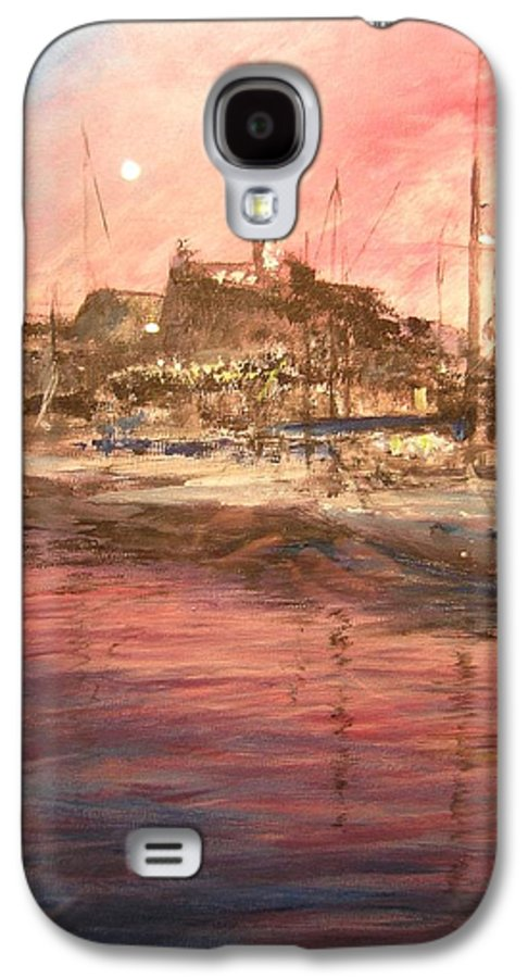 Yachts Galaxy S4 Case featuring the painting Ibiza Old Town At Sunset by Lizzy Forrester