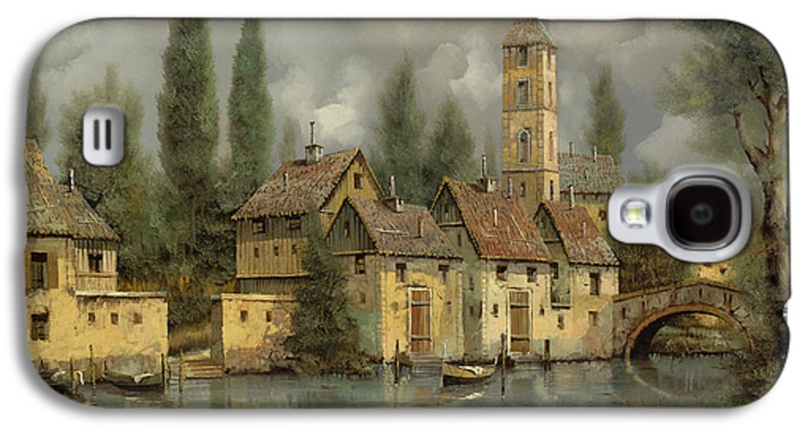 River Galaxy S4 Case featuring the painting Il Borgo Sul Fiume by Guido Borelli