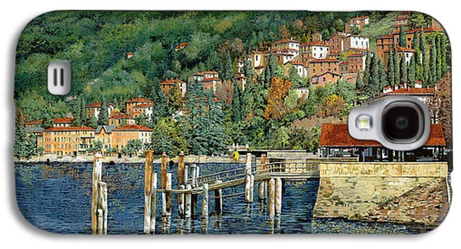Lake Como Galaxy S4 Case featuring the painting il porto di Bellano by Guido Borelli