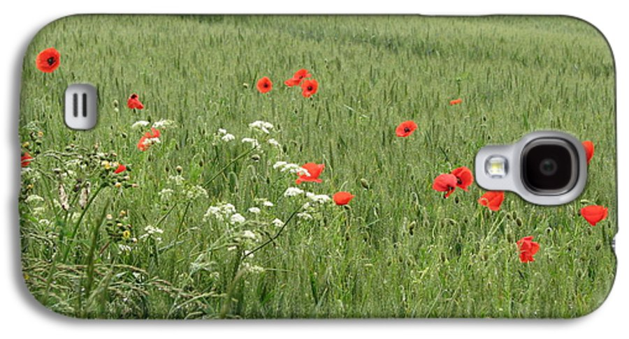 Lest-we Forget Galaxy S4 Case featuring the photograph in Flanders Fields the poppies blow by Mary Ellen Mueller Legault