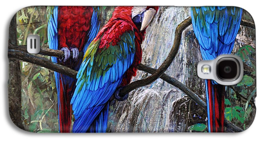 Macaws Galaxy S4 Case featuring the painting In Front Of The Cascade by Gabriel Hermida