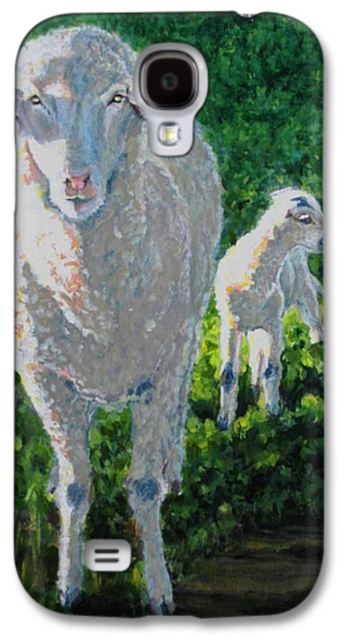 Sheep Galaxy S4 Case featuring the painting In Sheep's Clothing by Karen Ilari