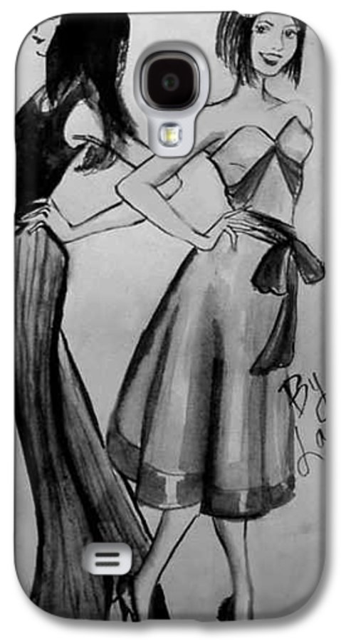 Fashion Galaxy S4 Case featuring the drawing Ink Ladies by Laura Rispoli