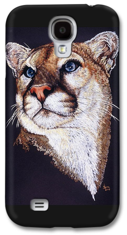 Cougar Galaxy S4 Case featuring the drawing Intense by Barbara Keith