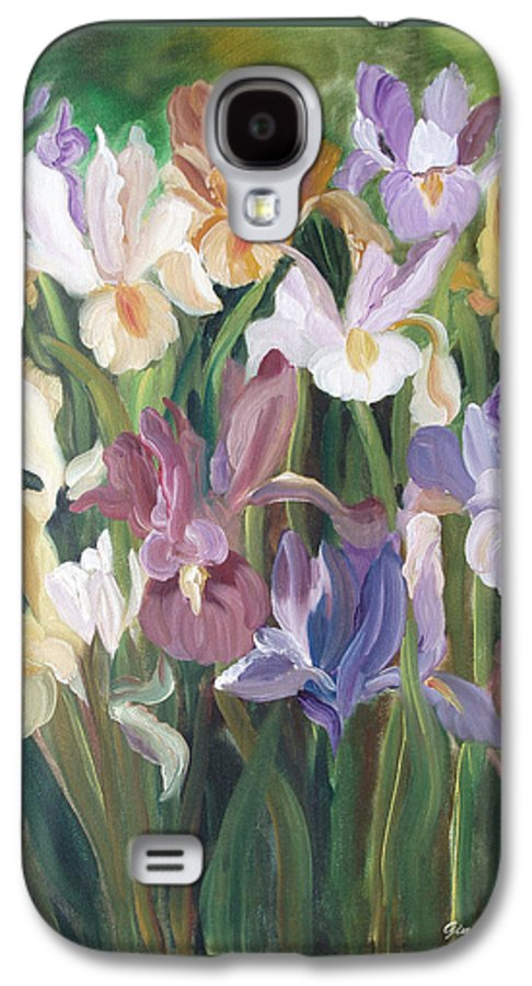 Irises Galaxy S4 Case featuring the painting Irises by Gina De Gorna