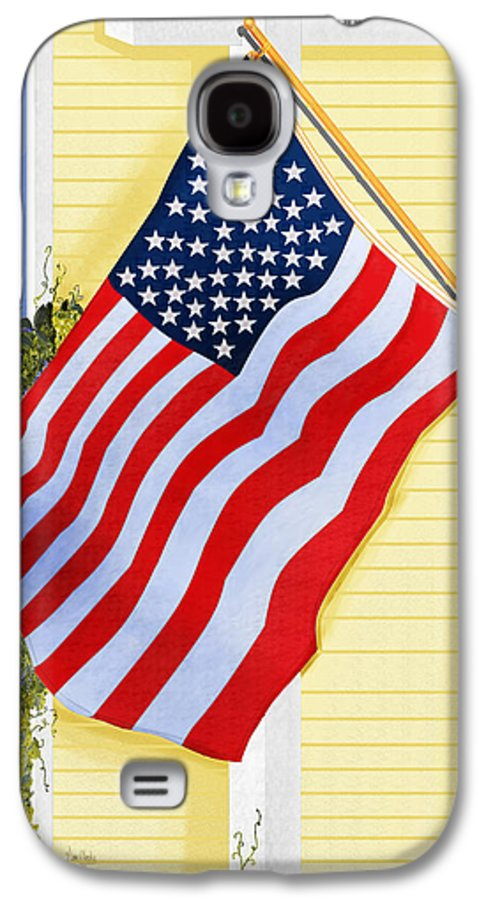 U.s. Flag Galaxy S4 Case featuring the painting It Will Fly Until They All Come Home by Anne Norskog