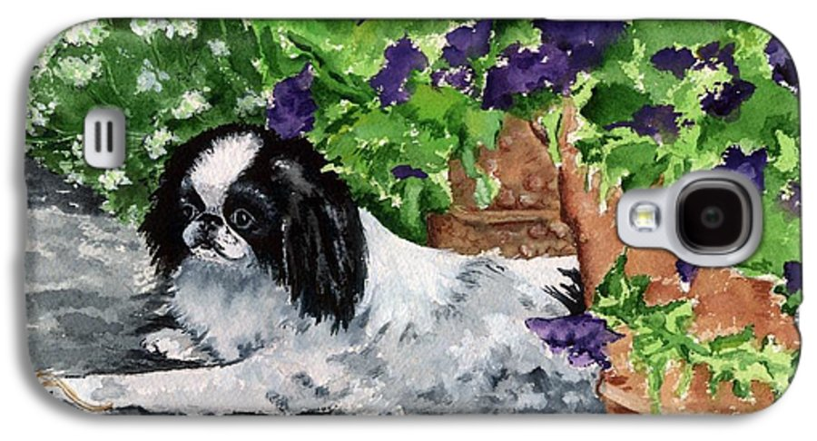 Japanese Chin Galaxy S4 Case featuring the painting Japanese Chin Puppy And Petunias by Kathleen Sepulveda