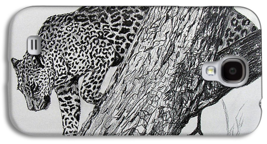 Original Drawing Galaxy S4 Case featuring the drawing Jaquar In Tree by Stan Hamilton