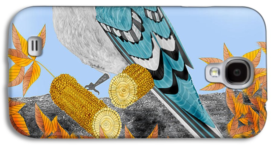 Jay Bird Galaxy S4 Case featuring the painting Jay With Corn And Leaves by Anne Norskog