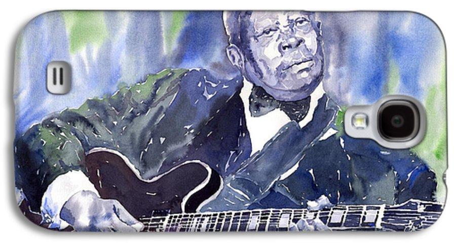 Jazz Bbking Music Watercolor Watercolour Guitarist Portret Galaxy S4 Case featuring the painting Jazz B B King 01 by Yuriy Shevchuk