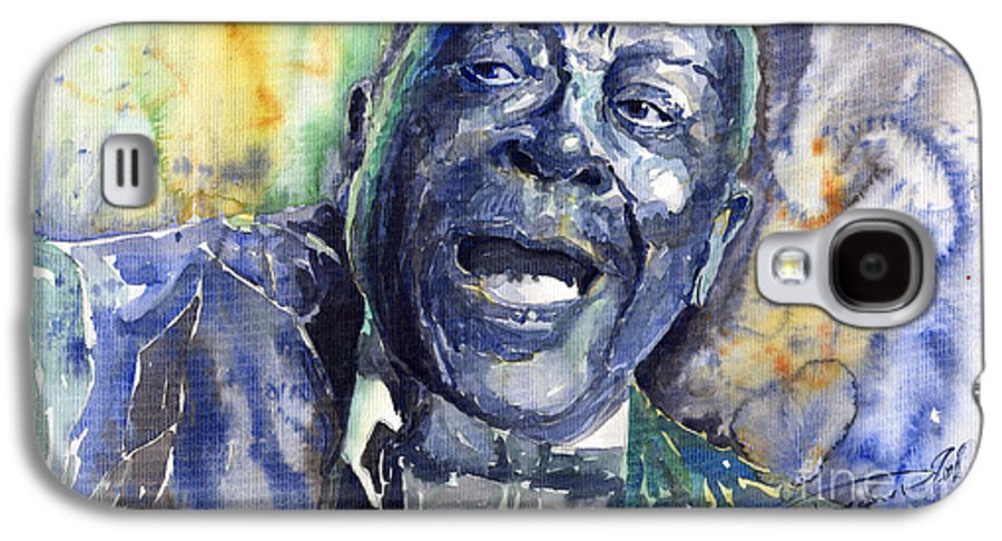 Jazz Galaxy S4 Case featuring the painting Jazz B.b.king 04 Blue by Yuriy Shevchuk