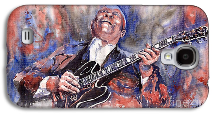 Jazz Galaxy S4 Case featuring the painting Jazz B B King 05 Red A by Yuriy Shevchuk