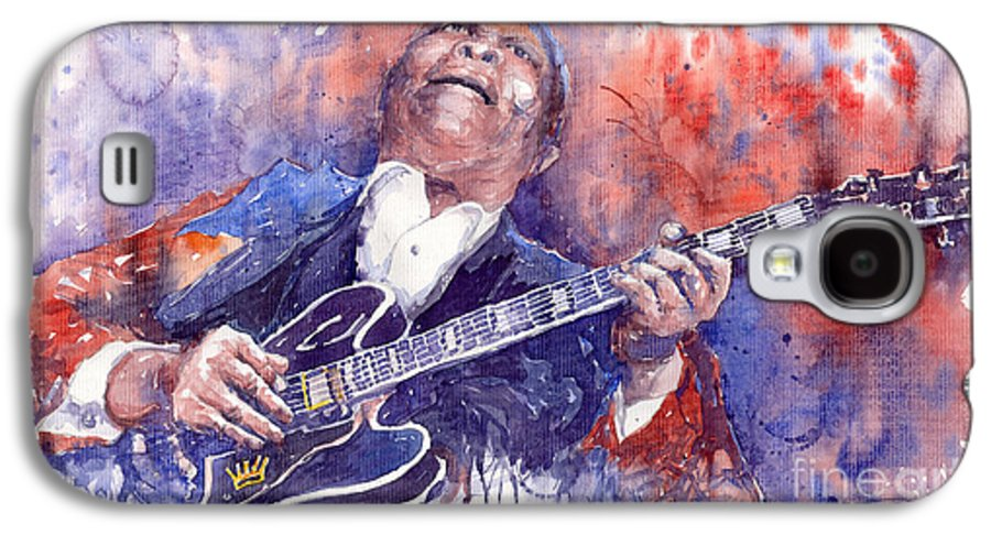 Jazz Galaxy S4 Case featuring the painting Jazz B B King 05 Red by Yuriy Shevchuk