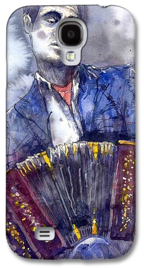 Jazz Galaxy S4 Case featuring the painting Jazz Concertina Player by Yuriy Shevchuk
