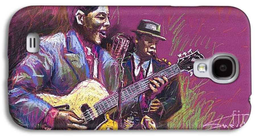 Jazz Galaxy S4 Case featuring the painting Jazz Guitarist Duet by Yuriy Shevchuk