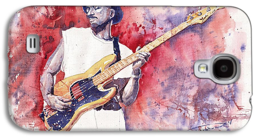 Jazz Galaxy S4 Case featuring the painting Jazz Guitarist Marcus Miller Red by Yuriy Shevchuk